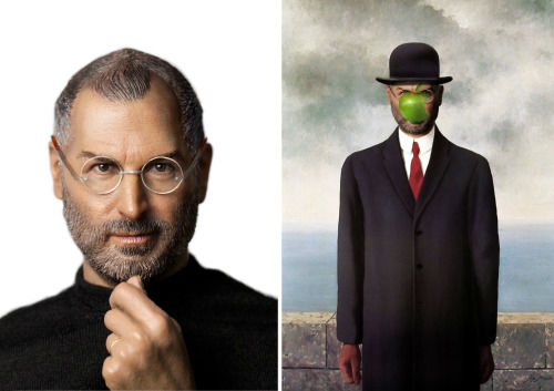 <div class='meta'><div class='origin-logo' data-origin='none'></div><span class='caption-text' data-credit='Photo/Benedicte Lacroix'>Steve Jobs in ''The Son of Man'' by Rene Magritte</span></div>