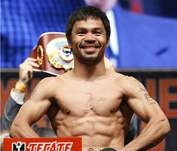 <div class='meta'><div class='origin-logo' data-origin='none'></div><span class='caption-text' data-credit='Photo/John Locher'>Photos from the weigh-in for Floyd Mayweather Jr. and Manny Pacquiao on Friday, May 1, 2015 in Las Vegas.</span></div>