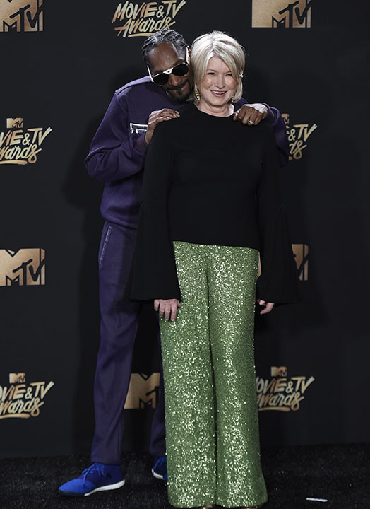<div class='meta'><div class='origin-logo' data-origin='none'></div><span class='caption-text' data-credit='Richard Shotwell/Invision/AP'>Snoop Dogg, left, and Martha Stewart pose in the press room at the MTV Movie and TV Awards at the Shrine Auditorium on Sunday, May 7, 2017, in Los Angeles.</span></div>