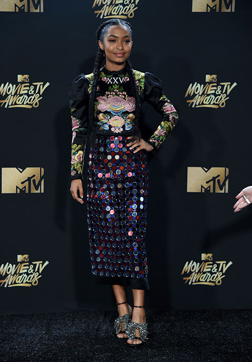 <div class='meta'><div class='origin-logo' data-origin='none'></div><span class='caption-text' data-credit='Richard Shotwell/Invision/AP'>Yara Shahidi arrives at the MTV Movie and TV Awards at the Shrine Auditorium on Sunday, May 7, 2017, in Los Angeles.</span></div>