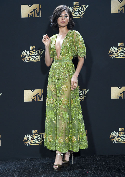<div class='meta'><div class='origin-logo' data-origin='none'></div><span class='caption-text' data-credit='Richard Shotwell/Invision/AP'>Zendaya arrives at the MTV Movie and TV Awards at the Shrine Auditorium on Sunday, May 7, 2017, in Los Angeles.</span></div>