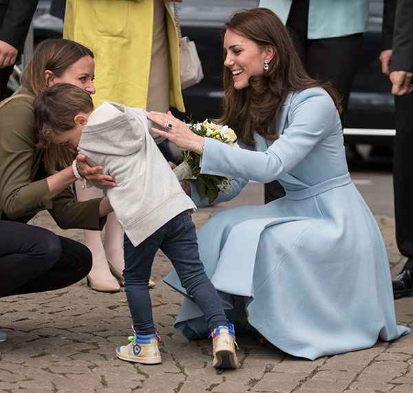 "<div class=""meta image-caption""><div class=""origin-logo origin-image none""><span>none</span></div><span class=""caption-text"">Catherine, Duchess of Cambridge receives flowers from a boy at Place Clairefontaine during a one day visit to Luxembourg on May 11, 2017 in Luxembourg, Luxembourg. (Pool/Samir Hussein / Contributor)</span></div>"