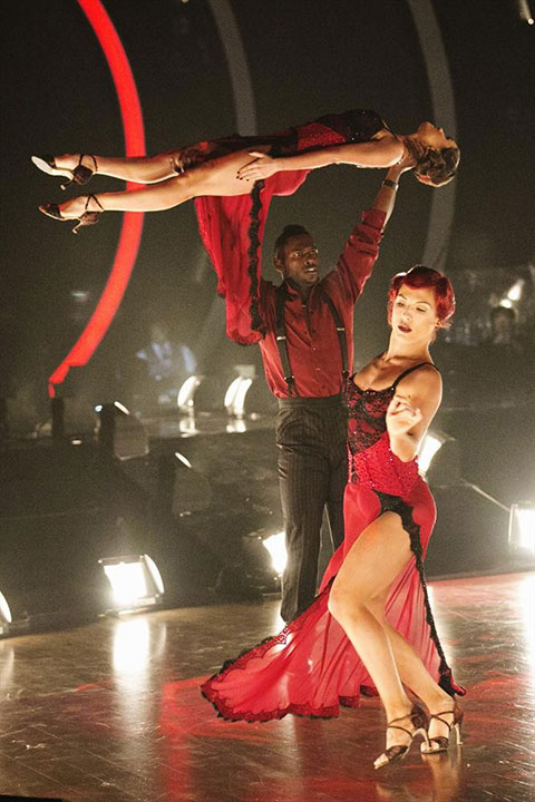 <div class='meta'><div class='origin-logo' data-origin='none'></div><span class='caption-text' data-credit='Adam Taylor/ABC'>Antonio received a 27 out of 30 for his trio dance with Sharna and Hayley.</span></div>