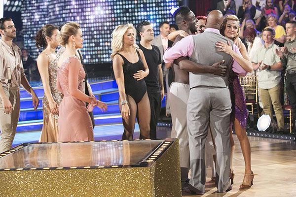 <div class='meta'><div class='origin-logo' data-origin='none'></div><span class='caption-text' data-credit='Adam Taylor/ABC'>The two eliminated couples hug: Antonio and Sharna, left, and Wanya and Lindsay were all sent home.</span></div>