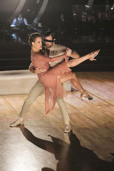 <div class='meta'><div class='origin-logo' data-origin='none'></div><span class='caption-text' data-credit='Adam Taylor/ABC'>Nyle was blindfolded for part of his Argentine Tango with partner Peta, which earned a perfect score of 30/30.</span></div>