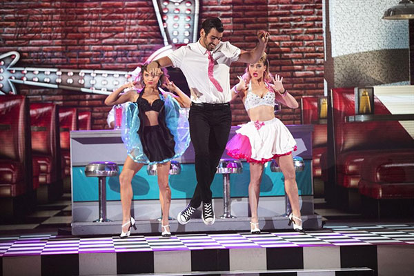 <div class='meta'><div class='origin-logo' data-origin='none'></div><span class='caption-text' data-credit='Adam Taylor/ABC'>Nyle received a 27 out of 30 for his trio dance with Peta and Jenna.</span></div>