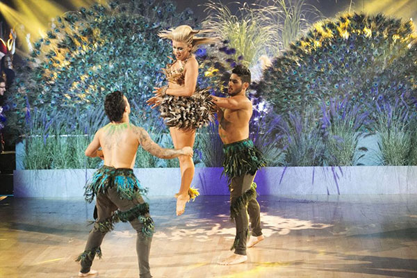 <div class='meta'><div class='origin-logo' data-origin='none'></div><span class='caption-text' data-credit='Adam Taylor/ABC'>Pro Alan joined Paige and Mark for their trio dance, which got a perfect score.</span></div>