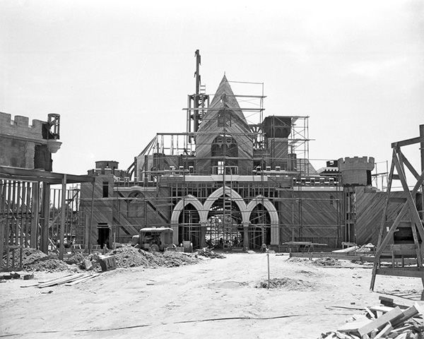 <div class='meta'><div class='origin-logo' data-origin='none'></div><span class='caption-text' data-credit='Disneyland Resort/ABC News'>The rear of Sleeping Beauty Castle takes shape. The 77-foot tall castle is the centerpiece of Disneyland park and has inspired unique Magic Kingdom parks around the world.</span></div>