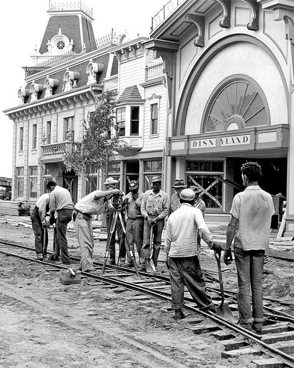 <div class='meta'><div class='origin-logo' data-origin='none'></div><span class='caption-text' data-credit='Disneyland Resort/ABC News'>Workers lay the foundation of the trolley tracks along Main Street. Horse-drawn streetcars travel on these tracks today, going between Town Square and Sleeping Beauty Castle.</span></div>