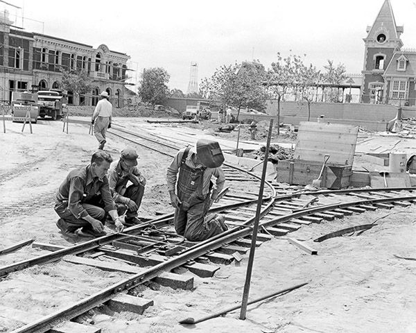 sleeping construction worker rare photos of disneyland under construction in 1954 abc7newscom