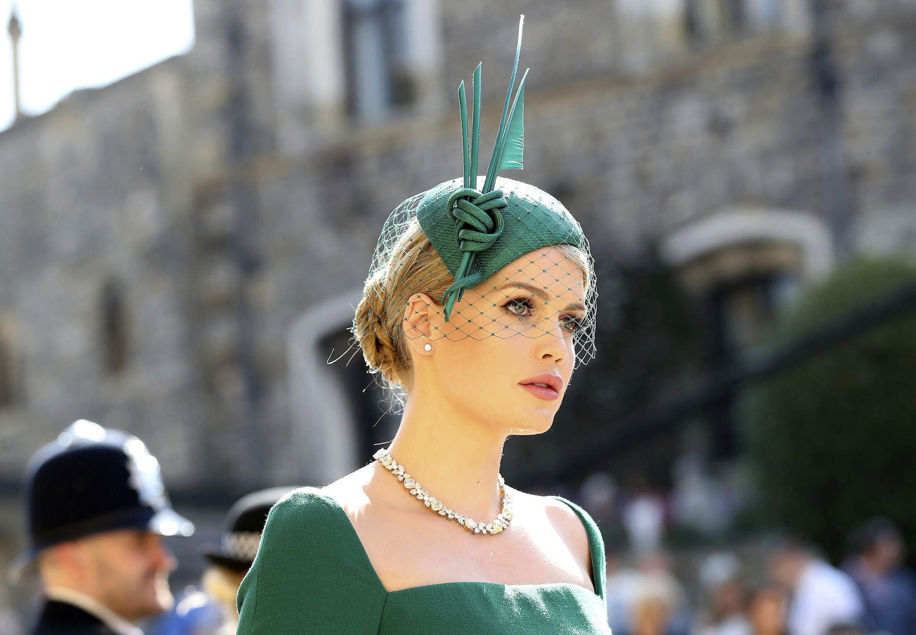 <div class='meta'><div class='origin-logo' data-origin='AP'></div><span class='caption-text' data-credit='Gareth Fuller/PA Wire'>Lady Kitty Spencer arrives at St George's Chapel at Windsor Castle for the wedding of Meghan Markle and Prince Harry.</span></div>