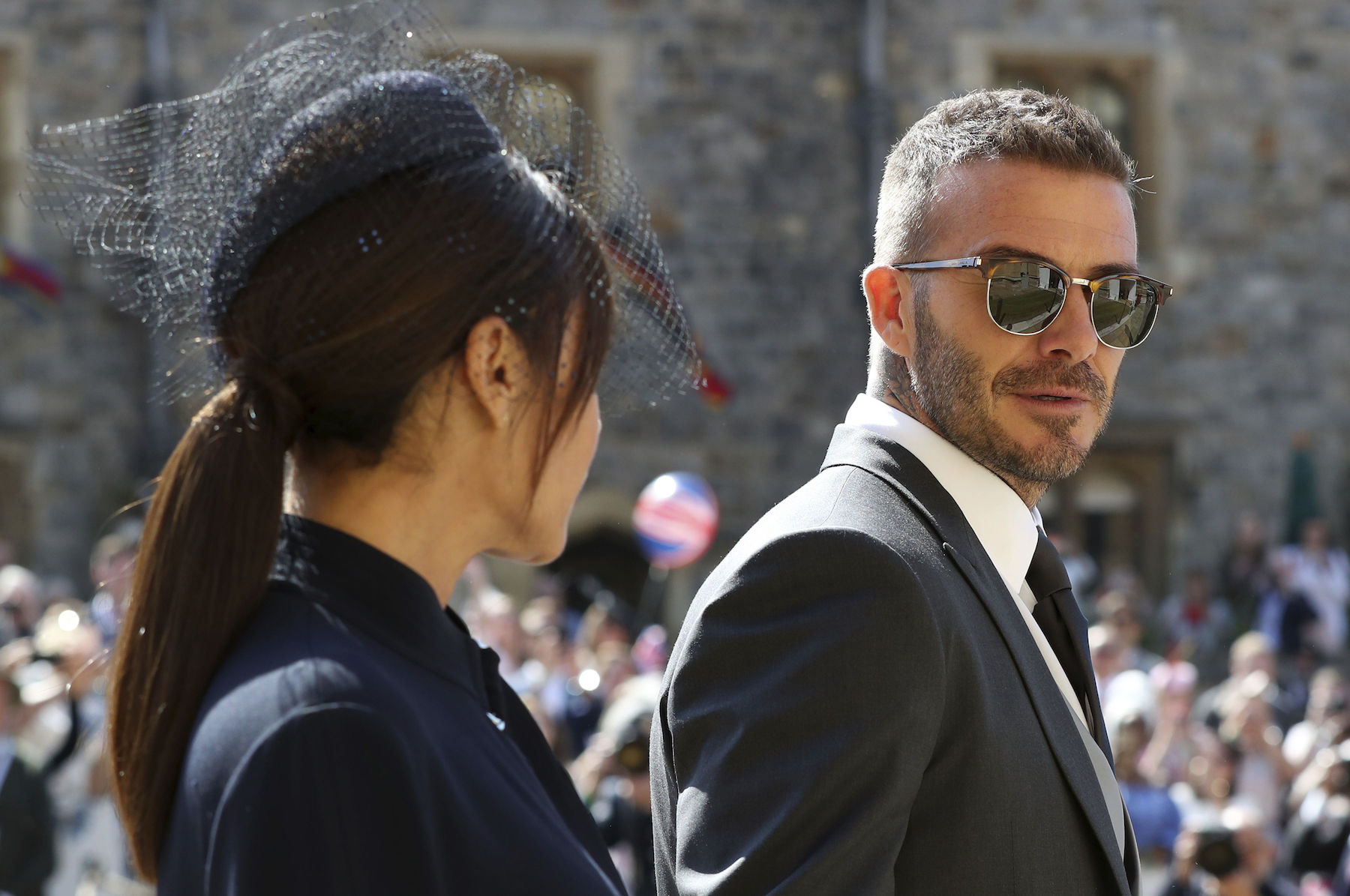 <div class='meta'><div class='origin-logo' data-origin='AP'></div><span class='caption-text' data-credit='Gareth Fuller/pool photo via AP'>David Beckham and Victoria Beckham arrive for the wedding ceremony of Prince Harry and Meghan Markle at St. George's Chapel in Windsor Castle.</span></div>