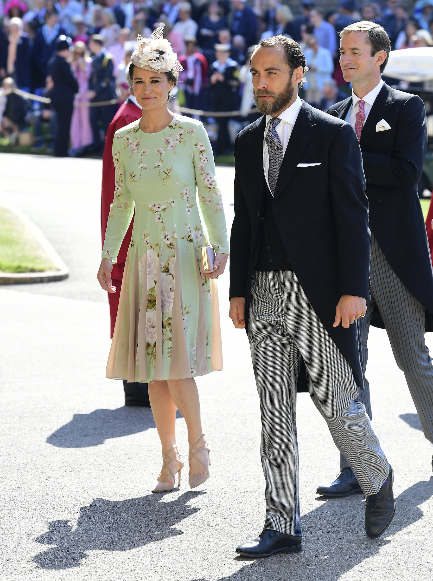 <div class='meta'><div class='origin-logo' data-origin='AP'></div><span class='caption-text' data-credit='Ian West/PA Wire'>Pippa Middleton and James Middleton arrive at St George's Chapel at Windsor Castle for the wedding of Meghan Markle and Prince Harry.</span></div>