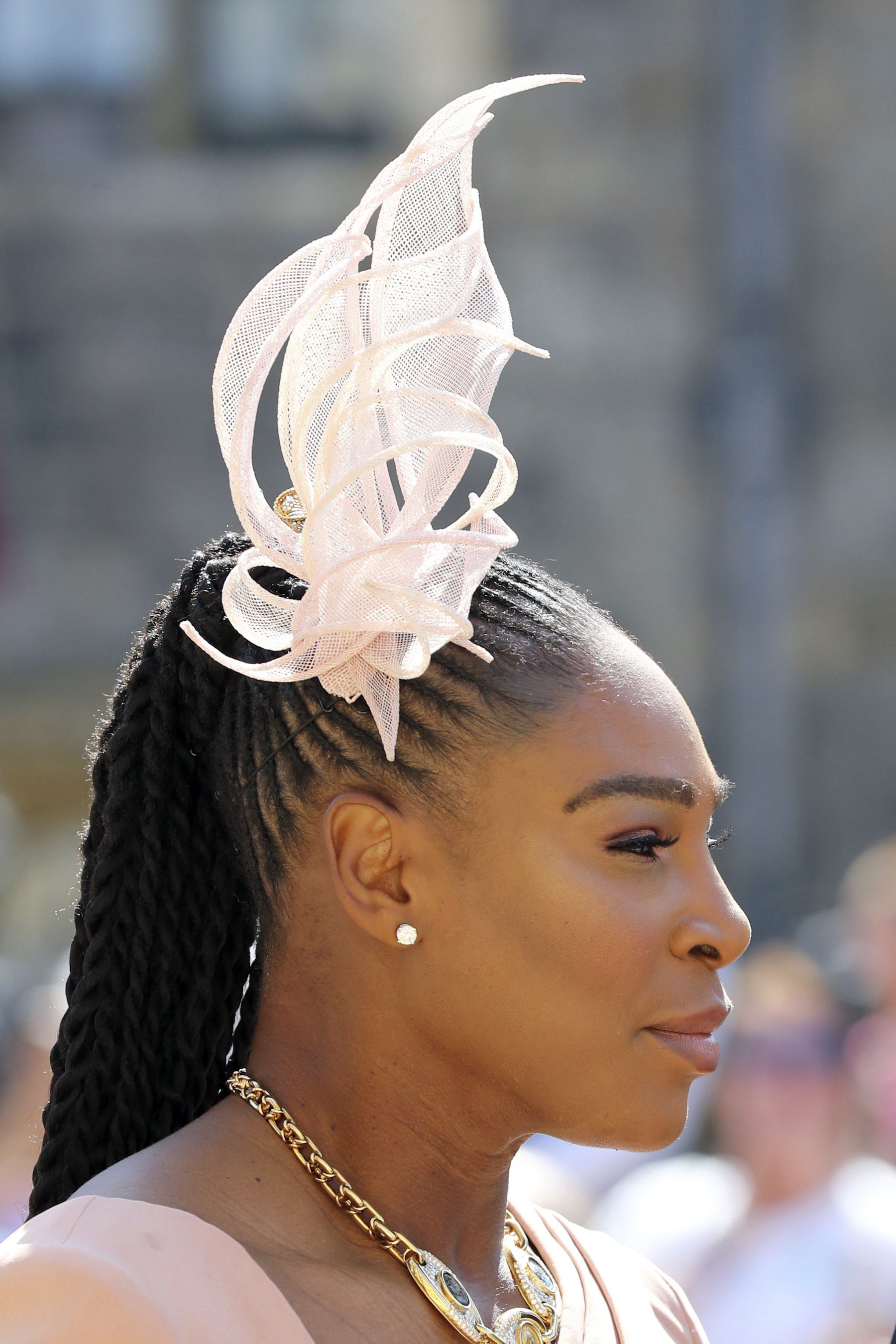 <div class='meta'><div class='origin-logo' data-origin='AP'></div><span class='caption-text' data-credit='Gareth Fuller/PA Wire'>Serena Williams arrives at St George's Chapel at Windsor Castle for the wedding of Meghan Markle and Prince Harry.</span></div>