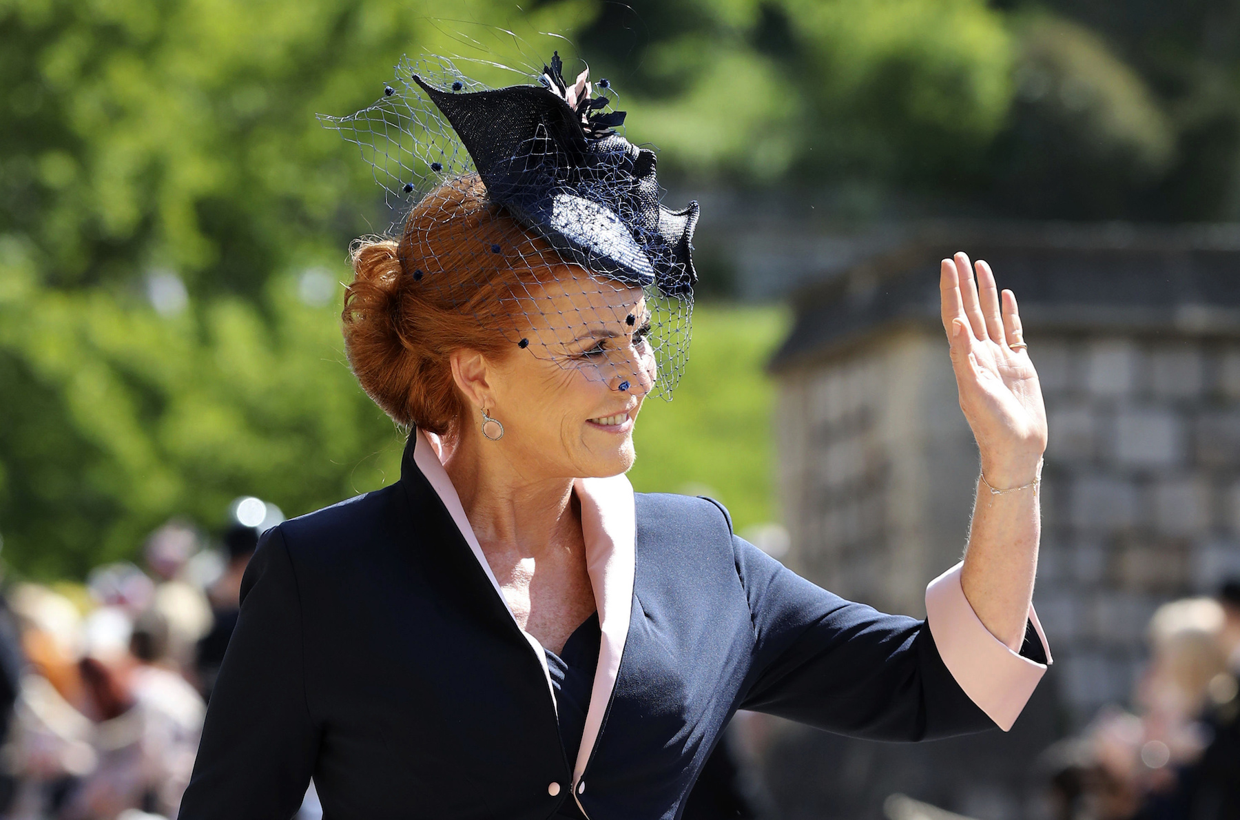 <div class='meta'><div class='origin-logo' data-origin='AP'></div><span class='caption-text' data-credit='Gareth Fuller/PA Wire'>The Duchess of York arrives at St George's Chapel at Windsor Castle for the wedding of Meghan Markle and Prince Harry.</span></div>