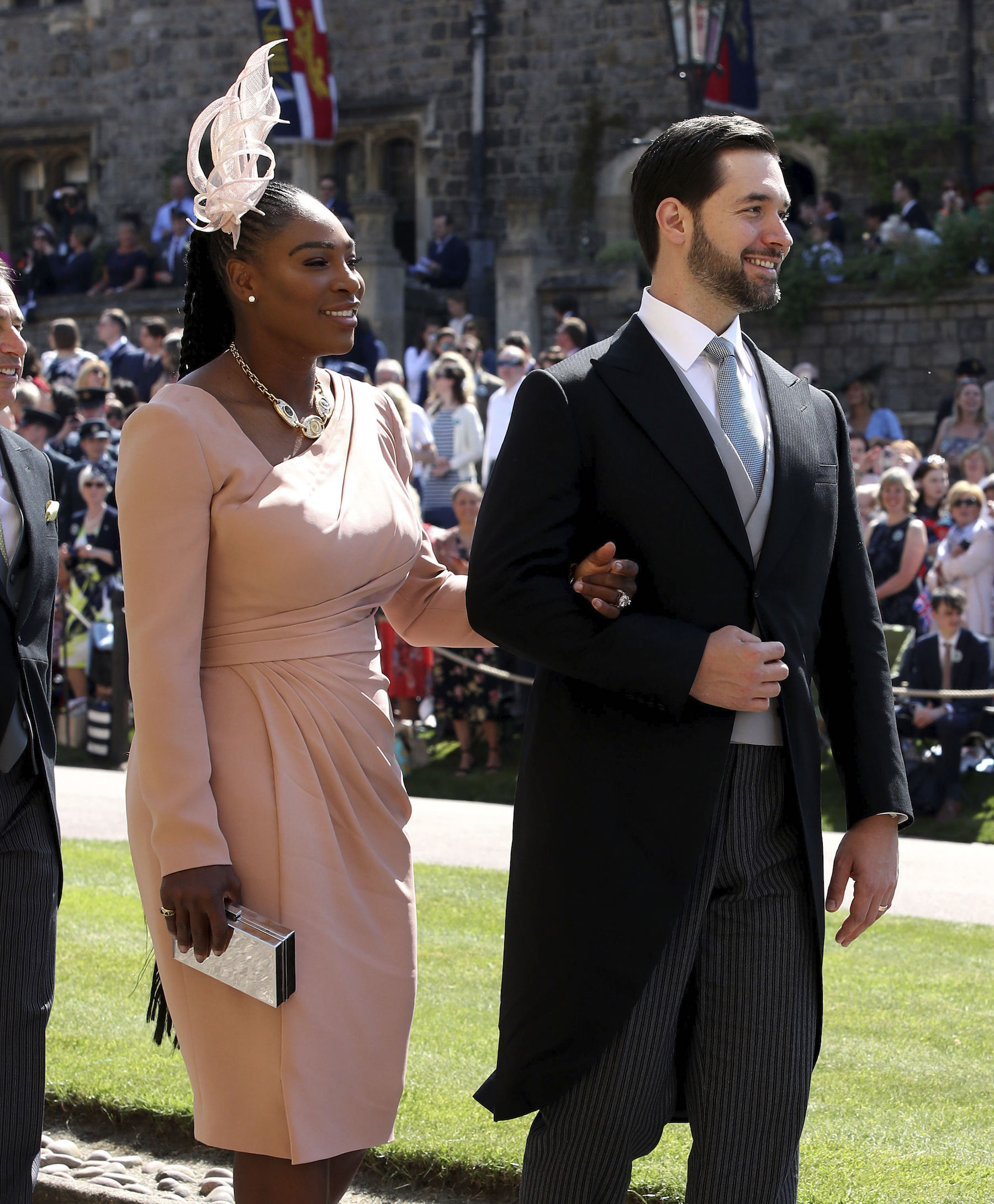 <div class='meta'><div class='origin-logo' data-origin='AP'></div><span class='caption-text' data-credit='Chris Radburn/PA Wire'>Serena Williams and Alexis Ohanian arrive at St George's Chapel at Windsor Castle for the wedding of Meghan Markle and Prince Harry.</span></div>