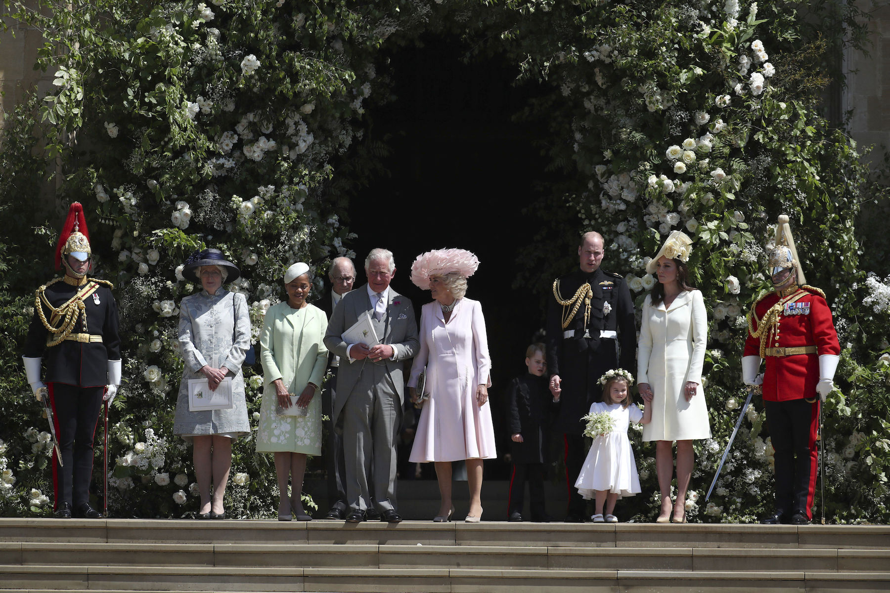 <div class='meta'><div class='origin-logo' data-origin='Creative Content'></div><span class='caption-text' data-credit='Jane Barlow/PA Wire'>Doria Ragland, the Prince of Wales, the Duchess of Cornwall, the Duke and Duchess of Cambridge with Prince George and Princess Charlotte leave St George's Chapel.</span></div>