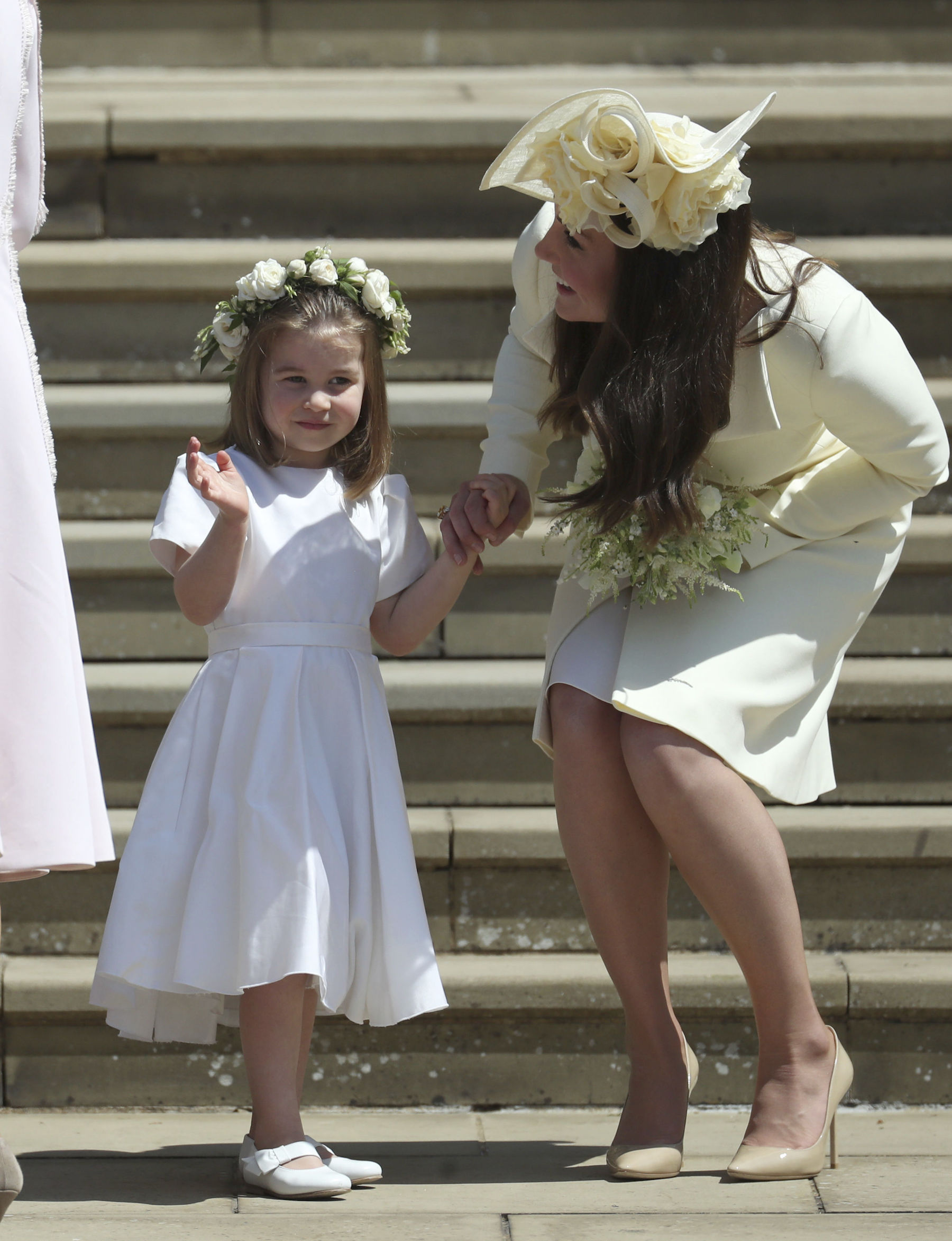 <div class='meta'><div class='origin-logo' data-origin='AP'></div><span class='caption-text' data-credit='Jane Barlow/pool photo via AP'>Princess Charlotte and Kate, Duchess of Cambridge after the wedding ceremony of Prince Harry and Meghan Markle.</span></div>