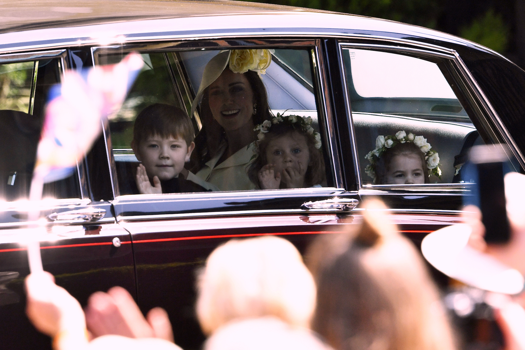 <div class='meta'><div class='origin-logo' data-origin='AP'></div><span class='caption-text' data-credit='Ben Stansall/AFP/Pool'>Britain's Catherine, Duchess of Cambridge (C) arrives with Princess Charlotte (R) and bridesmaids for the wedding ceremony of Britain's Prince Harry.</span></div>