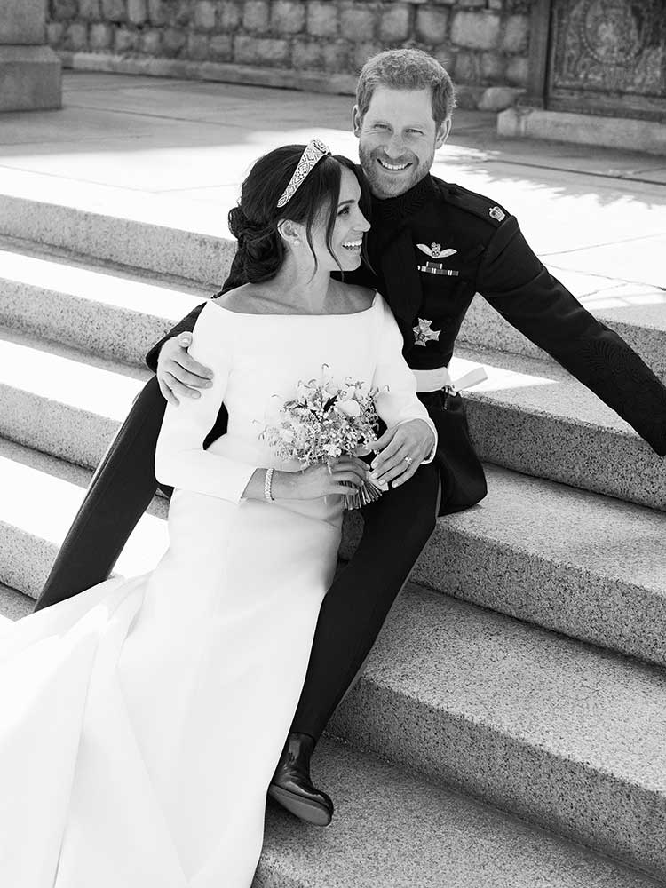 <div class='meta'><div class='origin-logo' data-origin='none'></div><span class='caption-text' data-credit='Alexi Lubomirski/Kensington Palace via AP'>This photo released by Kensington Palace on Monday May 21, 2018, shows an official wedding photo of Britain's Prince Harry and Meghan Markle, on the East Terrace of Windsor Castle</span></div>