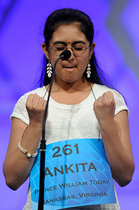 <div class='meta'><div class='origin-logo' data-origin='none'></div><span class='caption-text' data-credit='Photo/AP'>Ankita Vadiala, 13, celebrates after correctly spelling the word &#34;geta&#34; during the 2015 Scripps National Spelling Bee in Oxon Hill, Md., May 27, 2015.</span></div>