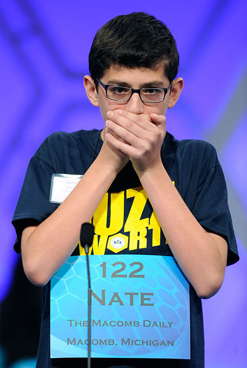<div class='meta'><div class='origin-logo' data-origin='none'></div><span class='caption-text' data-credit='Photo/AP'>Nathaniel Britton, 14, of Macomb, Mich., spells the word &#34;incorruptible&#34; during the 2105 Scripps National Spelling Bee in Oxon Hill, Md.</span></div>