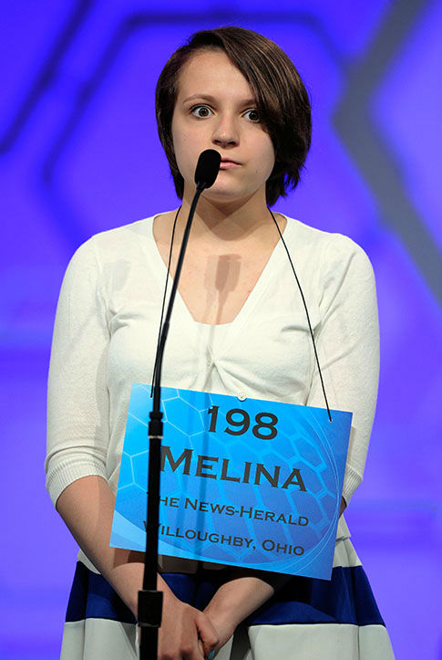 <div class='meta'><div class='origin-logo' data-origin='none'></div><span class='caption-text' data-credit='Photo/AP'>Melina Gabele, 13, of Willoughby, Ohio, spells the word &#34;flamenco&#34; during the 2015 Scripps National Spelling Bee in Oxon Hill, Md.</span></div>