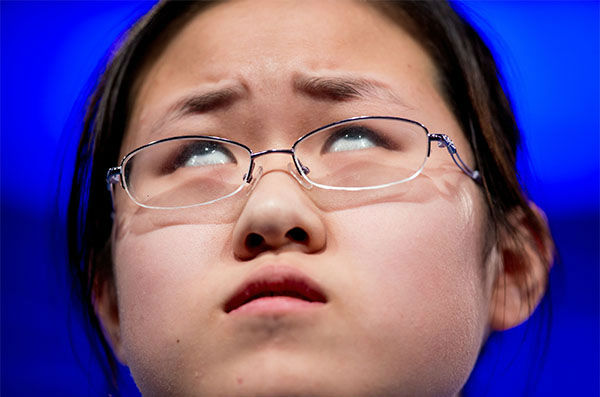 <div class='meta'><div class='origin-logo' data-origin='none'></div><span class='caption-text' data-credit='Photo/AP'>Sophia Han, 14, of Tianjin, China, thinks about how to spell her word &#34;vermicide&#34; during the 2015 Scripps National Spelling Bee in Oxon Hill, Md.</span></div>