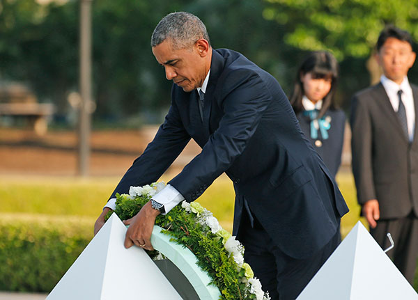 <div class='meta'><div class='origin-logo' data-origin='none'></div><span class='caption-text' data-credit='Shuji Kajiyama/AP Photo'>U.S. President Barack Obama lays wreaths at the cenotaph at Hiroshima Peace Memorial Park in Hiroshima.</span></div>