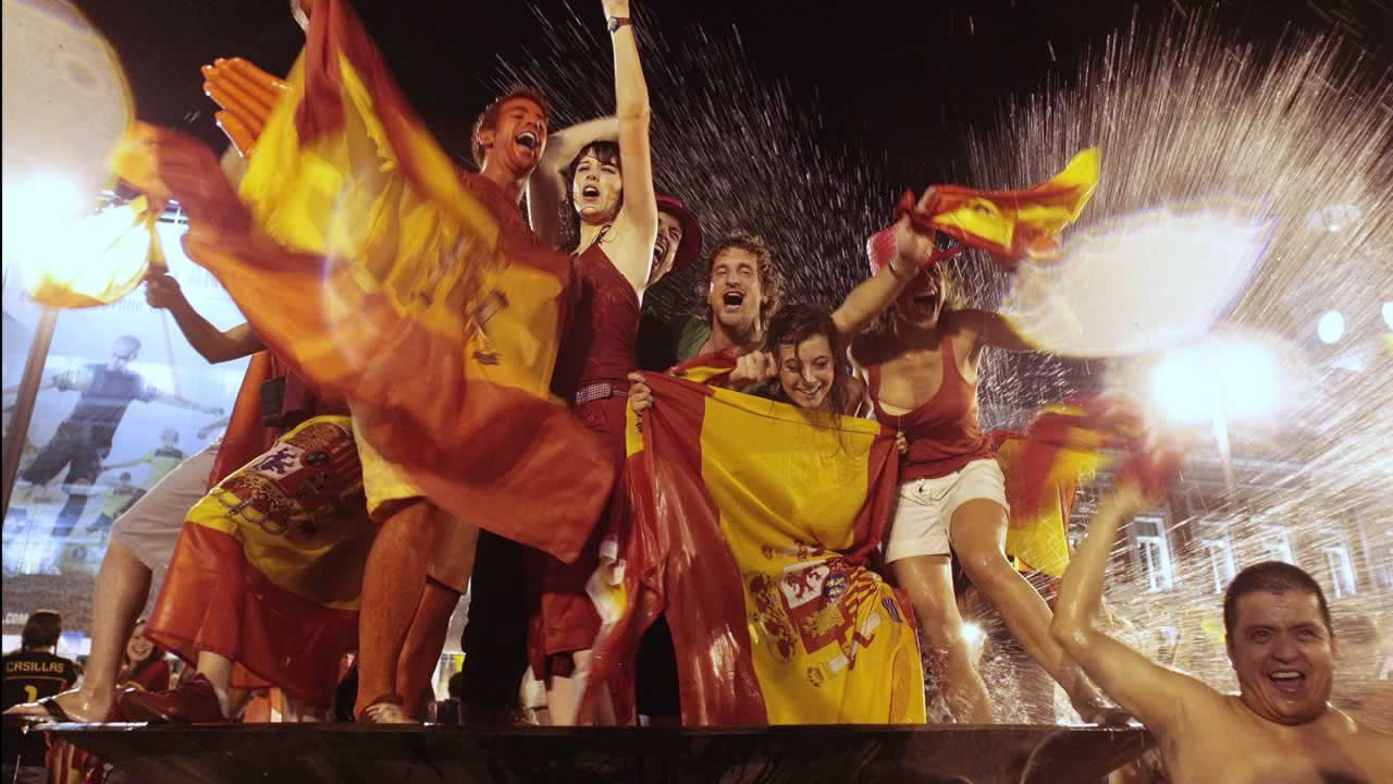 Spanish fans celebrate in downtown Madrid after Spain defeated the Netherlands 1-0 to win the World Cup soccer final, taking place in South Africa, on Sunday, July 11, 2010. <span class=meta>(AP Photo&#47;Arturo Rodriguez)</span>