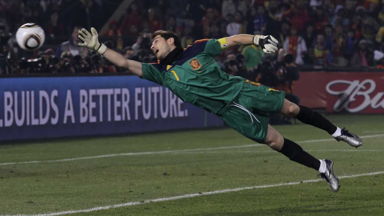 Spain goalkeeper Iker Casillas goes for the ball during the World Cup group H soccer match between Chile and Spain at the Loftus Versfeld Stadium in Pretoria, South Africa. <span class=meta>(AP Photo&#47;Rick Bowmer)</span>