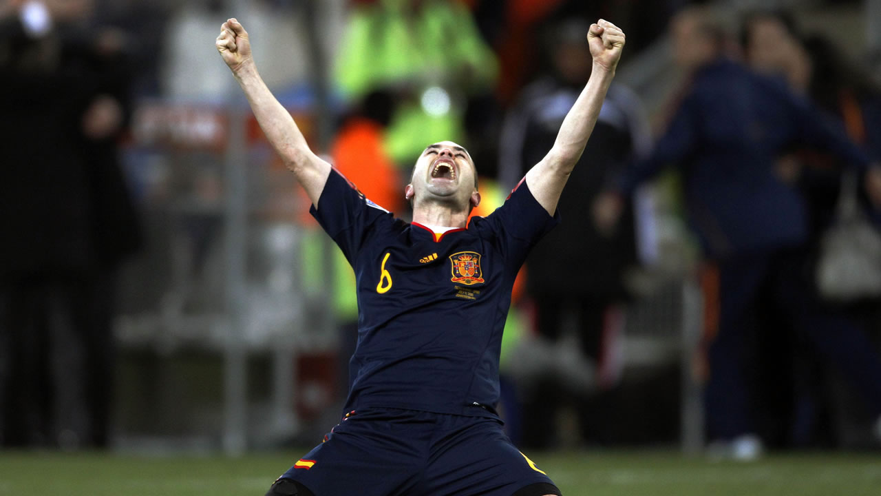 Spain&#39;s Andres Iniesta celebrates after scoring a goal during the World Cup final soccer match between the Netherlands and Spain at Soccer City in Johannesburg, South Africa. <span class=meta>(AP Photo&#47;Luca Bruno)</span>