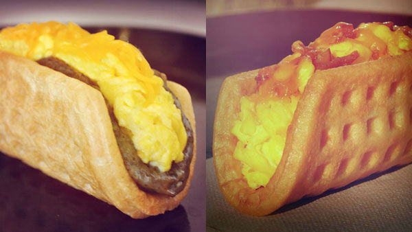 Waffle Tacos, for those mornings when your first thought is ''I could go for a taco right now.'' <span class=meta>Taco Bell Breakfast Menu</span>
