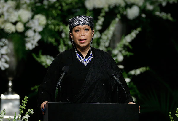 <div class='meta'><div class='origin-logo' data-origin='none'></div><span class='caption-text' data-credit='David Goldman/AP Photo'>Ambassador Qubilah Shabazz, the second daughter of Malcolm X and Betty Shabazz, speaks during Muhammad Ali's memorial service.</span></div>
