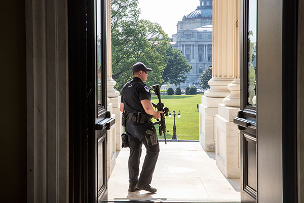 <div class='meta'><div class='origin-logo' data-origin='none'></div><span class='caption-text' data-credit='J. Scott Applewhite/AP Photo'>A Capitol Hill Police officer stands his post at the entrance to the House of Representatives on Capitol Hill in Washington, Wednesday, June 14, 2017.</span></div>