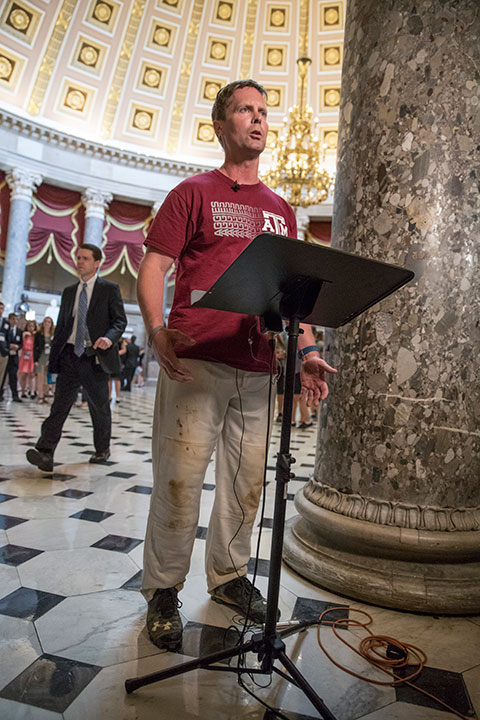 "<div class=""meta image-caption""><div class=""origin-logo origin-image none""><span>none</span></div><span class=""caption-text"">Rep. Rodney Davis, R-Ill., still wearing his baseball uniform, describes for reporters on Capitol Hill in Washington, Wednesday, June 14, 2017. (J. Scott Applewhite/AP Photo)</span></div>"