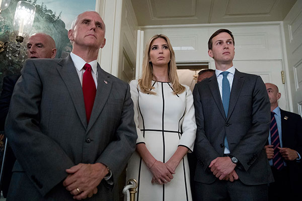 <div class='meta'><div class='origin-logo' data-origin='none'></div><span class='caption-text' data-credit='Andrew Harnik/AP Photo'>From left, Vice President Mike Pence, Ivanka Trump, daughter of President Donald Trump, and White House Senior Adviser Jared Kushner listen as President Donald Trump speaks.</span></div>