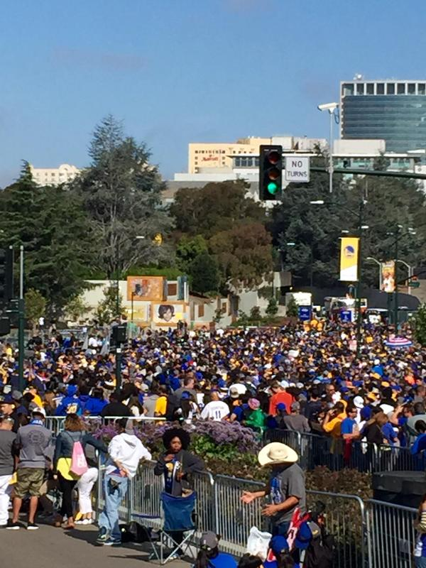 "<div class=""meta image-caption""><div class=""origin-logo origin-image none""><span>none</span></div><span class=""caption-text"">Dub Nation is ready for the rally following the Golden State Warriors victory parade in Oakland, Calif. on June 19, 2015. (KGO-TV)</span></div>"