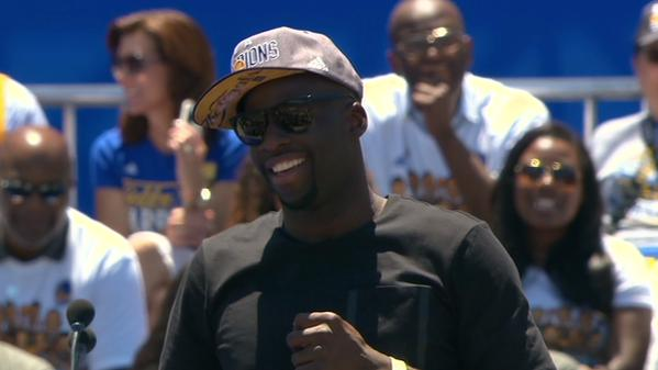 "<div class=""meta image-caption""><div class=""origin-logo origin-image none""><span>none</span></div><span class=""caption-text"">Warriors' Draymond Green takes the stage during a rally honoring the team outside Oakland's Kaiser Convention Center on Friday, June 19, 2015. (KGO-TV)</span></div>"