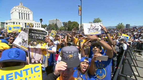 "<div class=""meta image-caption""><div class=""origin-logo origin-image none""><span>none</span></div><span class=""caption-text"">Dub Nation goes wild at the rally honoring the NBA champions outside Oakland's Kaiser Convention Center on Friday, June 19, 2015. (KGO-TV)</span></div>"