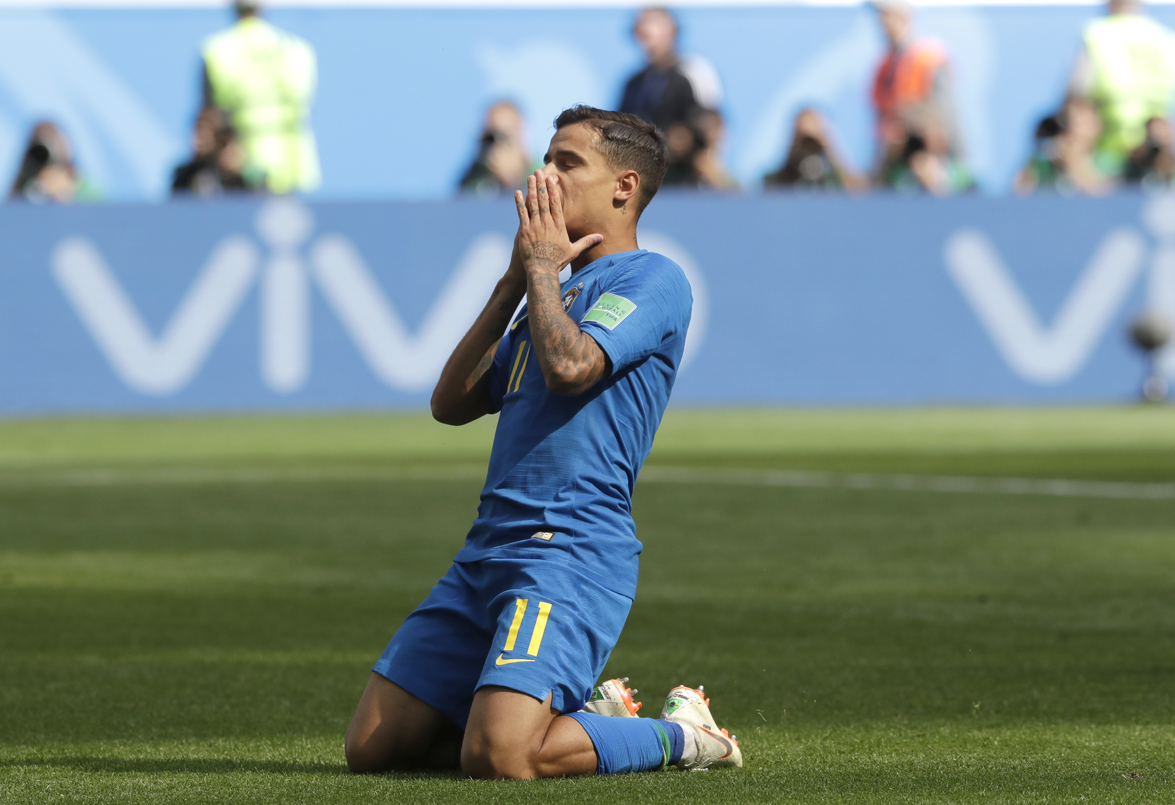 <div class='meta'><div class='origin-logo' data-origin='none'></div><span class='caption-text' data-credit='Petr David Josek/AP Photo'>Brazil's Philippe Coutinho reacts after missing an opportunity to score during the group E match between Brazil and Costa Rica in the St. Petersburg Stadium on June 22.</span></div>