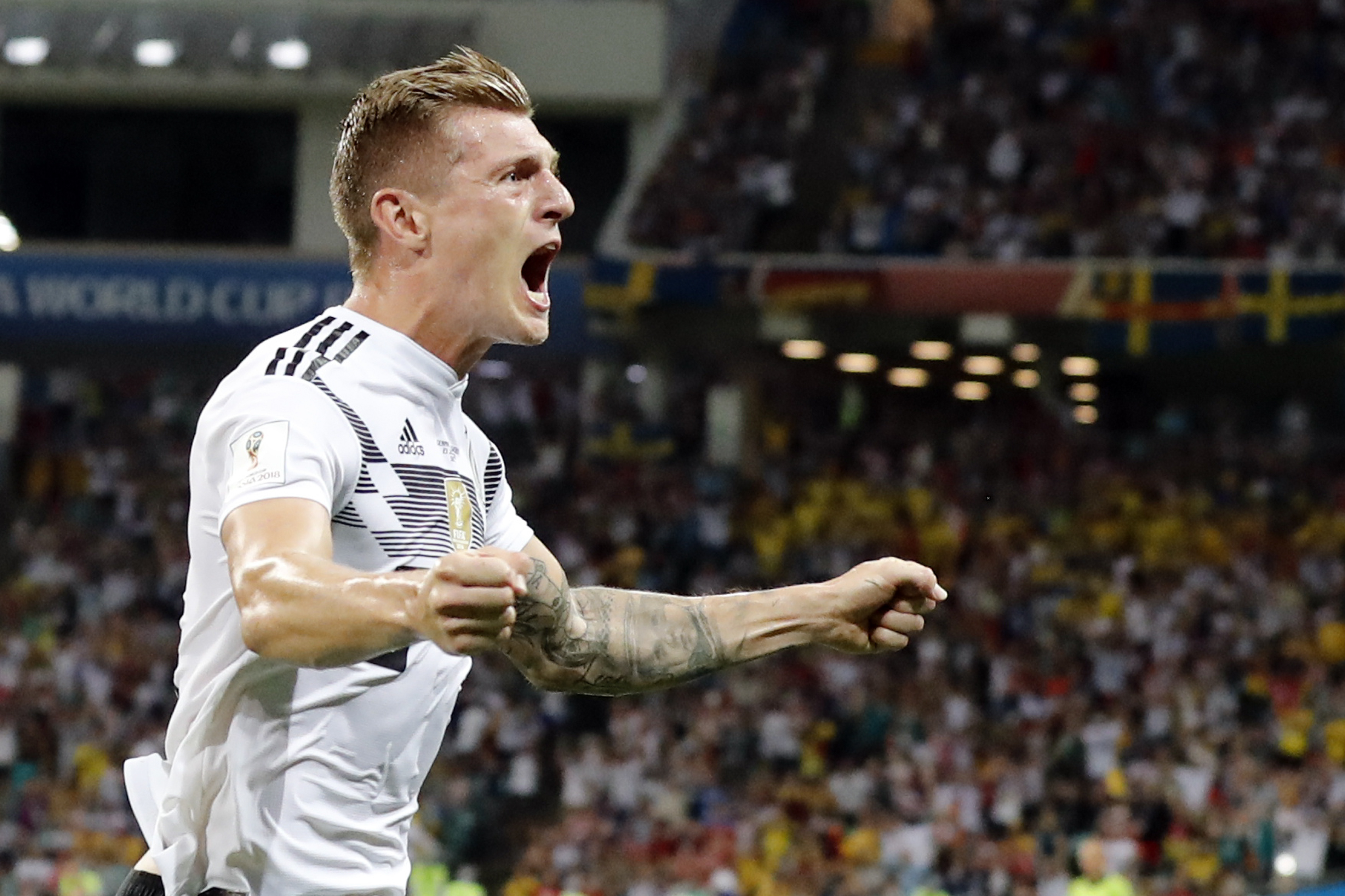 <div class='meta'><div class='origin-logo' data-origin='none'></div><span class='caption-text' data-credit='Frank Augstein/AP Photo'>Germany's Toni Kroos celebrates after he scored his side's second goal during the group F match between Germany and Sweden in the Fisht Stadium in Sochi on Saturday, June 23.</span></div>