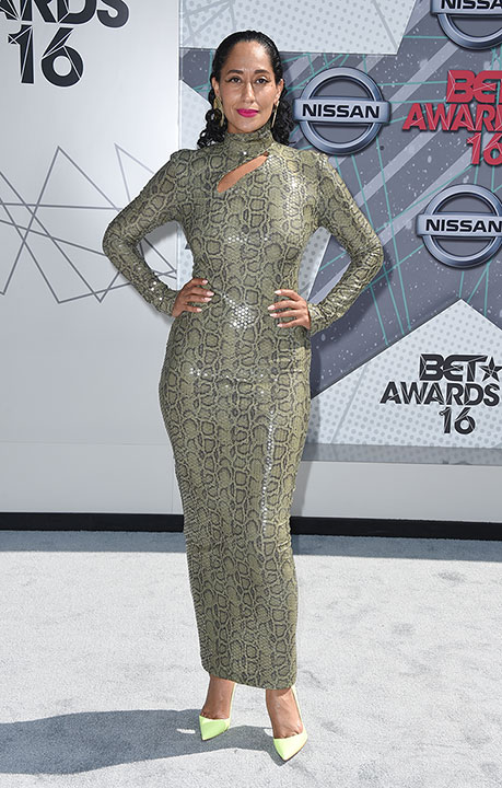 "<div class=""meta image-caption""><div class=""origin-logo origin-image none""><span>none</span></div><span class=""caption-text"">Host Tracee Ellis Ross arrives at the BET Awards on Sunday in Los Angeles. (Jordan Strauss/Invision/AP)</span></div>"