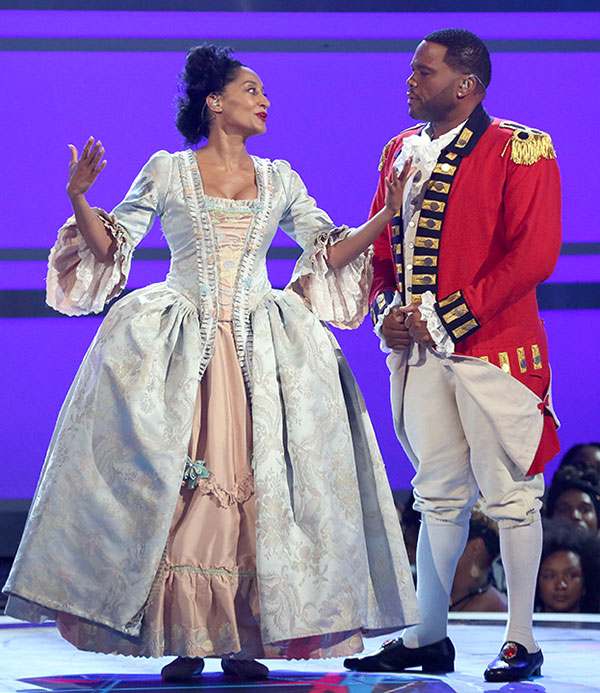 "<div class=""meta image-caption""><div class=""origin-logo origin-image none""><span>none</span></div><span class=""caption-text"">Hosts Tracee Ellis Ross, left, and Anthony Anderson perform a skit dressed as characters from the musical ''Hamilton'' at the BET Awards on Sunday in Los Angeles. (Matt Sayles/Invision/AP)</span></div>"