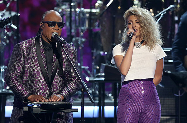 "<div class=""meta image-caption""><div class=""origin-logo origin-image none""><span>none</span></div><span class=""caption-text"">Stevie Wonder, left, and Tori Kelly perform a tribute to Prince at the BET Awards on Sunday in Los Angeles. (Matt Sayles/Invision/AP)</span></div>"