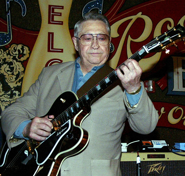 <div class='meta'><div class='origin-logo' data-origin='none'></div><span class='caption-text' data-credit='Judi Bottoni, File/AP Photo'>Scotty Moore, a pioneering rock guitarist who played on Elvis Presley hits like &#34;Hound Dog,&#34; died June 28, 2016, at age 84.</span></div>