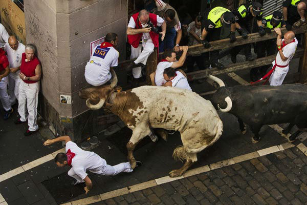 """<div class=""""meta image-caption""""><div class=""""origin-logo origin-image none""""><span>none</span></div><span class=""""caption-text"""">A steer, left, and a Jandilla fighting bull, right, run after revelers during the running of the bulls at the San Fermin festival, in Pamplona, Spain, Tuesday, July 7, 2015.  (AP Photo/ Andres Kudacki)</span></div>"""
