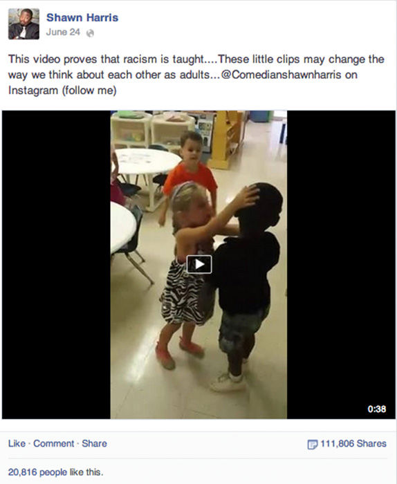 <div class='meta'><div class='origin-logo' data-origin='none'></div><span class='caption-text' data-credit='Shawn Harris / Facebook'>This video proves that racism is taught...</span></div>