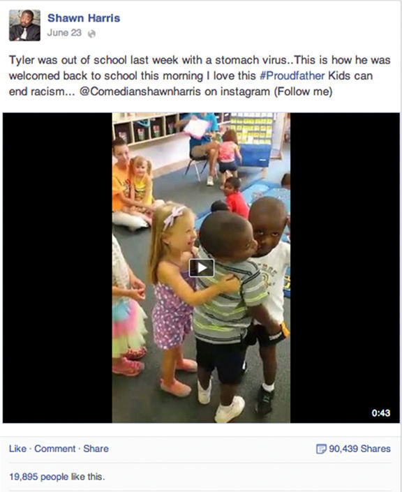 I love this #Proudfather. Kids can end racism. <span class=meta>Shawn Harris / Facebook</span>