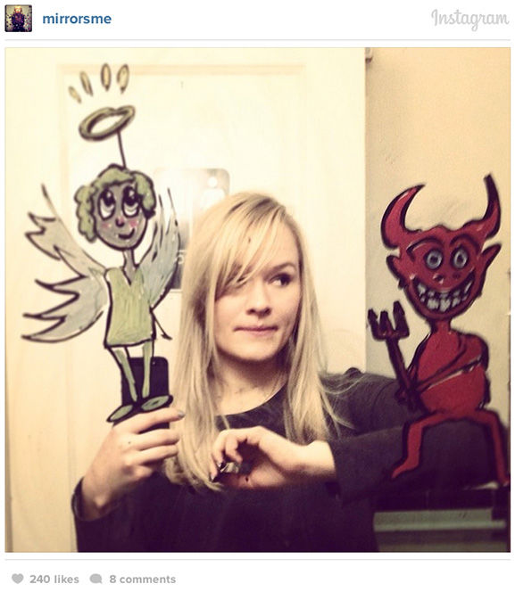 Meldadl said: I guess I feel as though I invent a little stage in the mirror. ... For me, it was the only natural thing to do: to draw on my bathroom mirror. Why not, right? <span class=meta>(Helene Meldahl &#47; @mirrosme &#47; Instagram)</span>